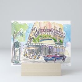 Paris Street Scene Romantic Cafe Mini Art Print