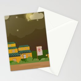Four houses in the night Stationery Cards