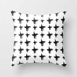 Black and White Cross Throw Pillow