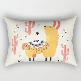Yellow Llama Red Cacti Rectangular Pillow