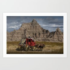 Traveling through the Badlands in a Western Stage Coach Art Print