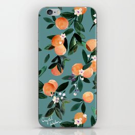 Dear Clementine - oranges teal by Crystal Walen iPhone Skin