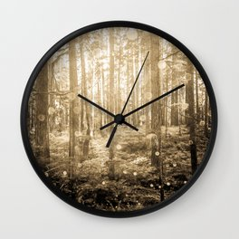 Vintage Sepia Fairy Forest Wall Clock