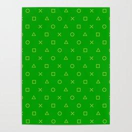 Green Gamer Pattern Poster