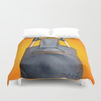 tiki Duvet Covers featuring Tiki Luggage by Del Gaizo
