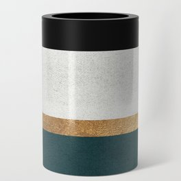 Deep Green, Gold and White Color Block Can Cooler