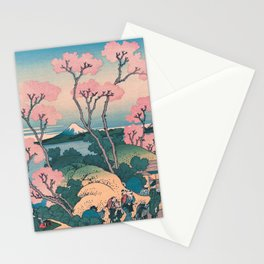 Spring Picnic under Cherry Tree Flowers, with Mount Fuji background Stationery Cards