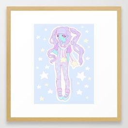 Kawaii alien girl Framed Art Print