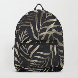 Modern Gold Leaves on Dark Marble Backpack