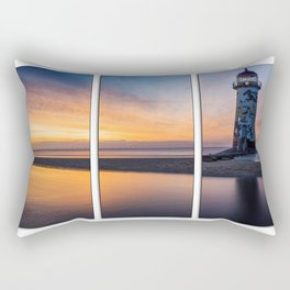 Sunset at the Lighthouse Tryptych Rectangular Pillow