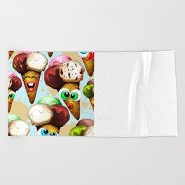 Ice Cream Cones Cartoon Pattern Beach Towel