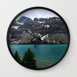 Bow Lake With Crowfoot Mountains Wall Clock