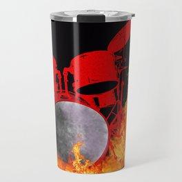 Flaming Red Drum Set Travel Mug