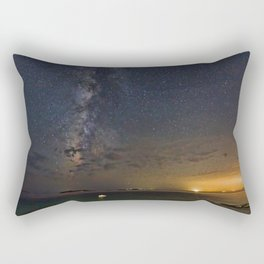 A boat under the Milky Way in Andros, Greece Rectangular Pillow