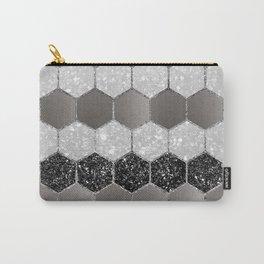 Silver Hexagon Glitter Glam #1 #geometric #decor #art #society6 Carry-All Pouch