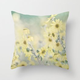 Pastel Wildflowers Yellow Helianthus Daisies -- Botanical Landscape Throw Pillow