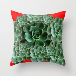CHINESE  RED ART JADE GREEN SUCCULENTS Throw Pillow