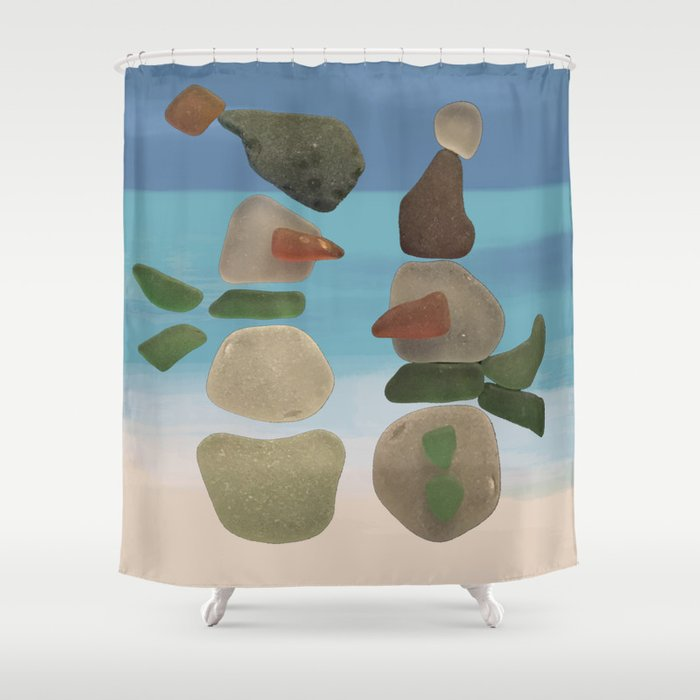 Finding Unexpected Sea Glass At The Beach Snowman Seaglass Shower Curtain By Nancysmith