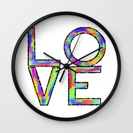 Pop Art Multicolored Love Wall Clock