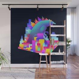 Neon city Godzilla Wall Mural