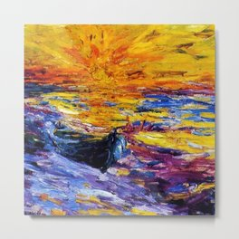 Classical Masterpiece 'Sunset & Boat' by Emil Nolde Metal Print