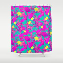 Star Cactus in Neon Pink Shower Curtain