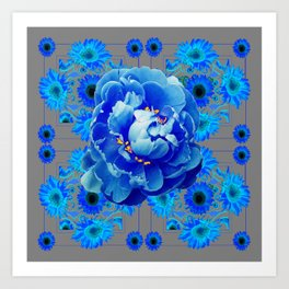 Baby Blue & Charcoal Grey Floral  Abstract Art Art Print