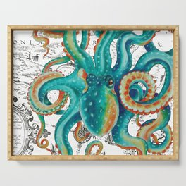 Teal Octopus Tentacles Vintage Map Nautical Serving Tray