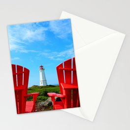Lighthouse and chairs in Red White and Blue Stationery Cards