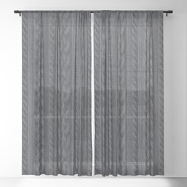 Charcoal Cable Knit Sheer Curtain