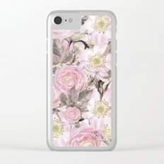 Floral Vintage painterly background in pink with Roses Flowers and insect Clear iPhone Case