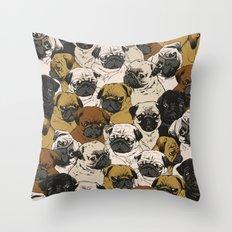 Social Pugz Throw Pillow