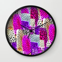 Modern pink watercolor abstract geometric hand painted pattern Wall Clock