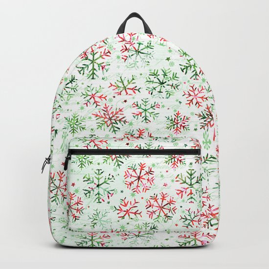 Red Green Snowflakes Backpack
