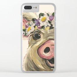 Farm Animal Art, Pig Art Clear iPhone Case