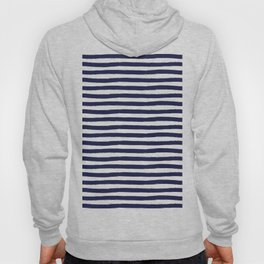Navy Blue and White Horizontal Stripes Hoody