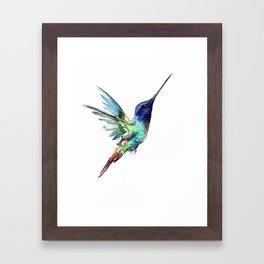 Flying Hummingbird flying bird, turquoise blue elegant bird minimalist design Framed Art Print