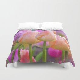 Spring Pastel Tulips Duvet Cover