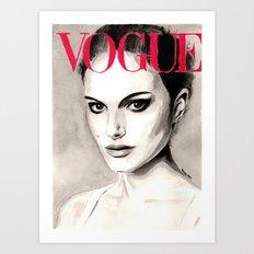 Vogue Magazine Cover. Natalie Portman. Fashion Illustration Art Print