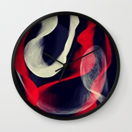 Waves in Red, Grey and White Wall Clock