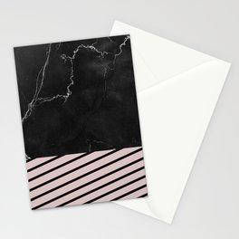 MARBLE & PALE DOGWOOD STRIPES Stationery Cards
