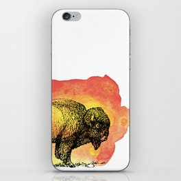 American Bison on Sunset Orange Watercolor iPhone Skin