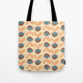 Mid Century Beige Floral Pattern Tote Bag