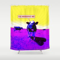 cows Shower Curtains featuring Psychedelic Cows by Peter Gross