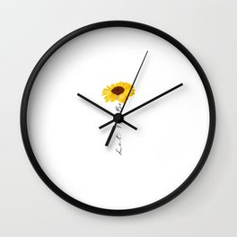 let it be quote Cute yellow summer sunflower Wall Clock