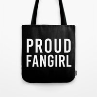 fangirl Tote Bags featuring FANGIRL by The Fandom Designs