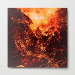 galaxy Mountains Fiery Orange & Red Metal Print