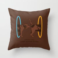 aperture Throw Pillows featuring Aperture Science - Canine Aptitude Testing by Record Makers