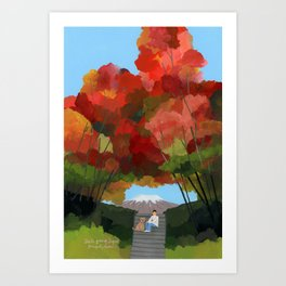 Break time with autumn leaves. Art Print