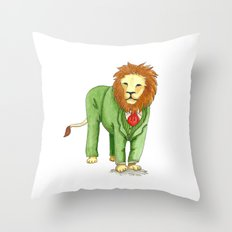 Lion in suit Throw Pillow